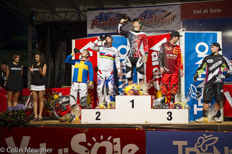 Evidently Great Britain and France don t drink podium champagne. Slavik with the win...