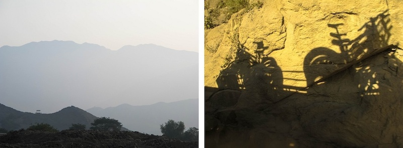 The view from the mountains close to Lima and the shadows of the bikes on the way to the top.