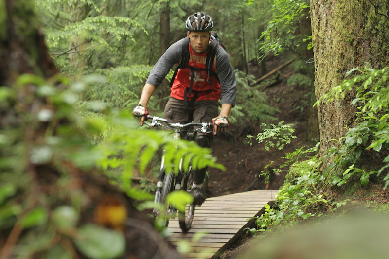 A day after 30mm of rain in 24 hours Trevor Sharon and I rode one of the few trails on Fromme built to take it.