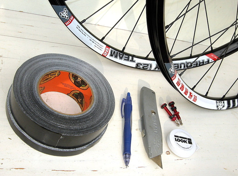 What you ll need One roll of Gorilla Tape don t substitute any other brand all you potential cheapskates a pen a box knife with a brand new blade tubeless valve stems we used American Classics your favorite wheels and a measuring device.