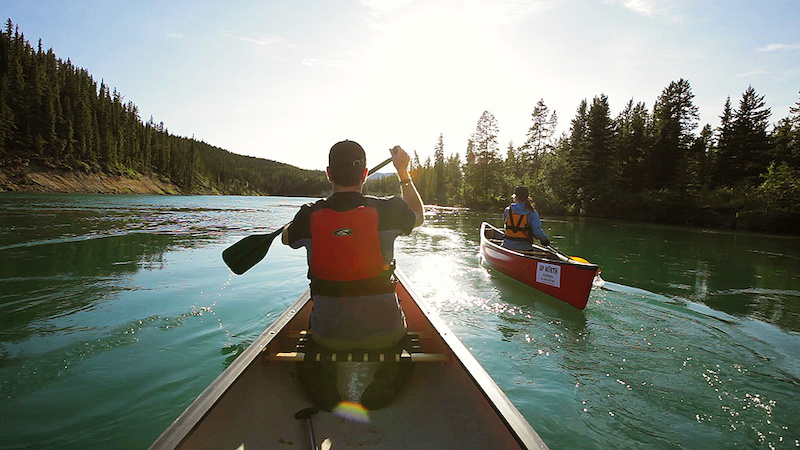 Paddling the Yukon River at sunset