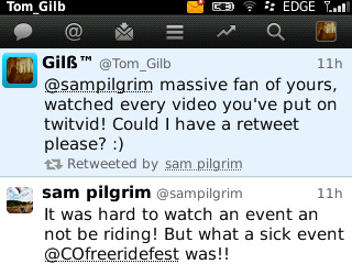 A RETWEET FROM SAM PILGRIM!
