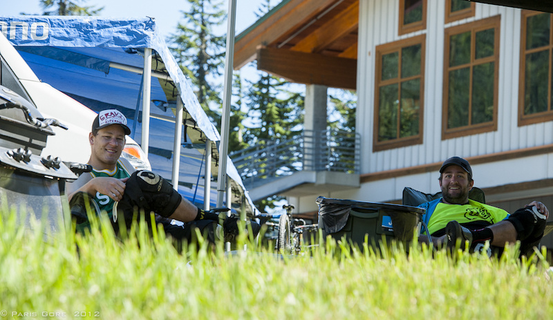 Gravity s Scott Kemp and Patrik Zuest were keeping cool in the shade during the high heat today.