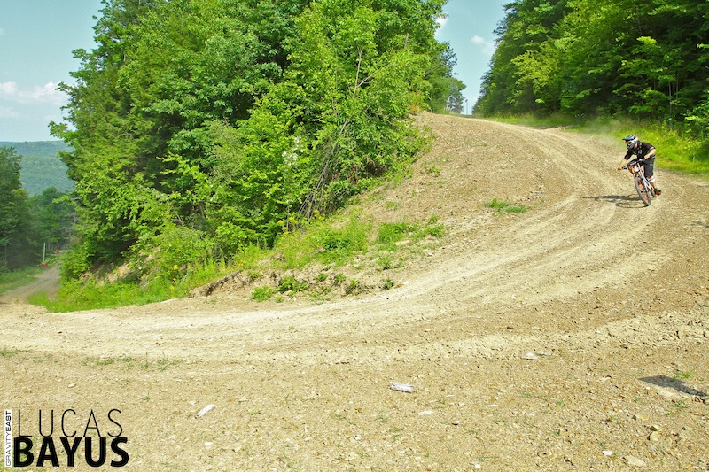 Come out the steep chute and down a fire road. Depending on where they tape the course... perhaps a sneaky inside line