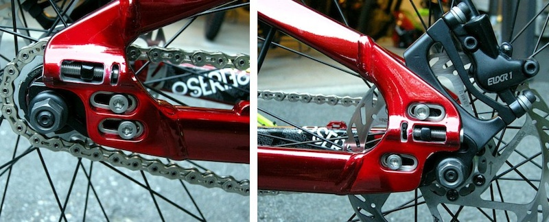 Specialized P-Slope Adjustable dropout and moving brake caliper mount.