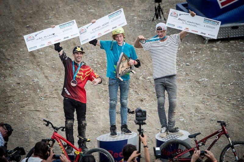 Red Bull Joyride 2012 podium McCaul 3rd Genon winner and Martin S derstr m 2nd