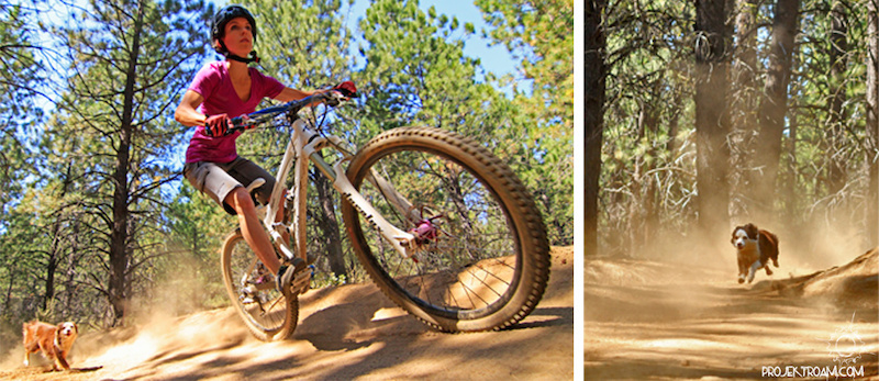 Jessee and her dog shredding Whoops trail in Bend OR.