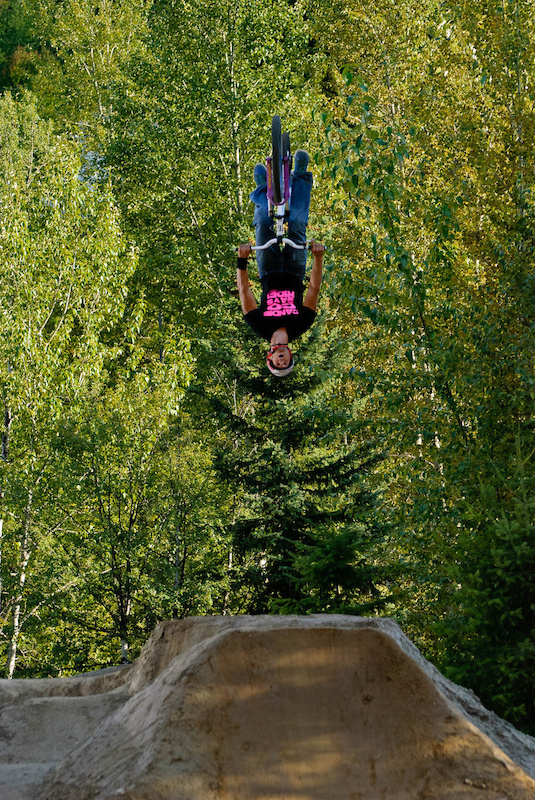 Johnny boosting the first jump of the Huck n Berries Jam at Centennial Park. The action goes down Sept. 8 in Rossland BC. Vince Boothe photo.