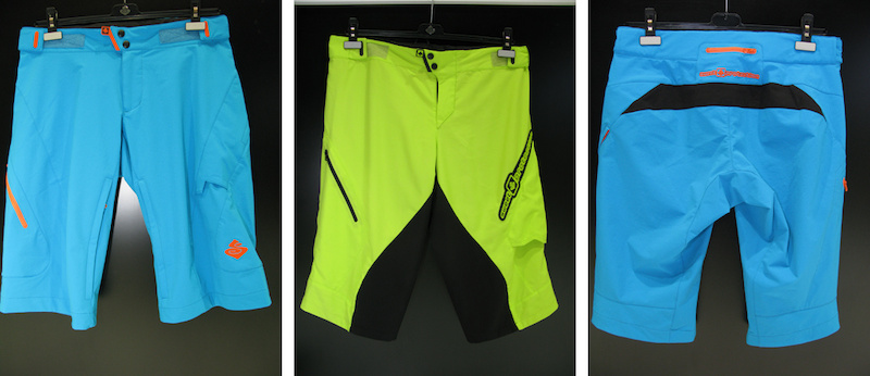 Sweet Protection s blue shorts shown here are mid length for all mountain use and come just past your knee while the fluro yellow is the downhill short and is cut a little longer. Other colourways are available.