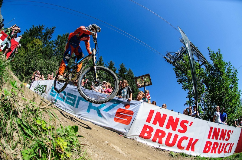 Ben Reid of Ireland races down the 4.2km track on the Nordkette Singletrail Nordkette Downhill.Pro Innsbruck Invitational in Innsbruck Austria on September 8th 2012. Free image for editorial usage only Photo by Felix Schueller