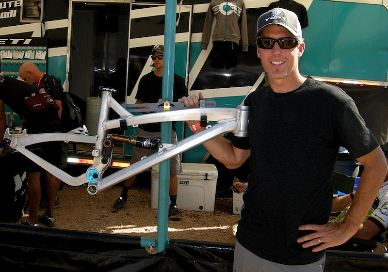 Chris Conroy with the Yeti 66 suspension demo frame