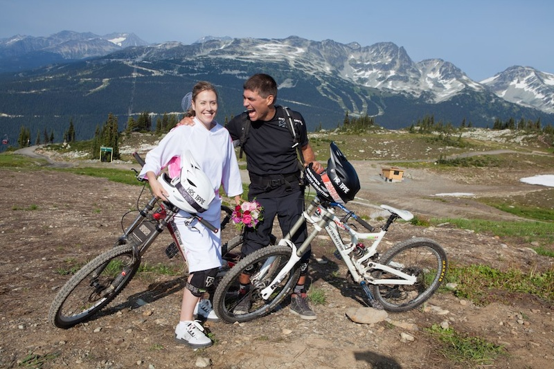 we got hitched at the peak of Whistler (where we met)and rode over 4,000ft with our friends and family for our MTB wedding.