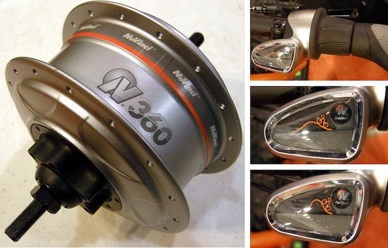 Nuvinci s 360 CVT hub is disc brake compatible and can be driven by chains or belts. The twist shifter left can be operated when the vehicle is stopped. The shift indicator graphic is quite original.