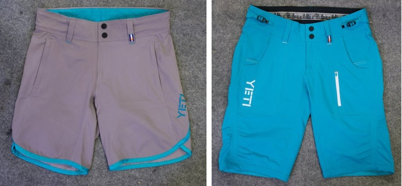 Yeti female riding shorts Lightweight Caddoa XC left and Norrie DH right . Padded liner not shown.