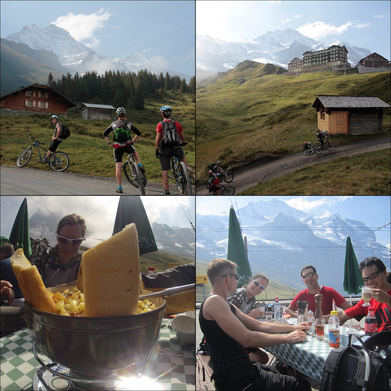 Climbing to Kleine Scheidegg with Noodlez and Simon and eating Ghacketts mit Horndli