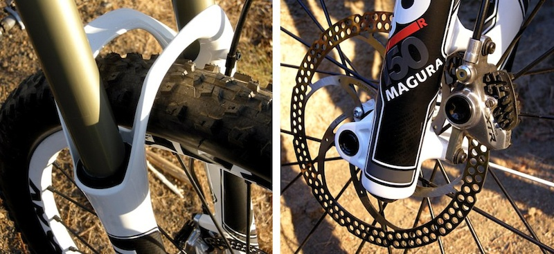 Magura TS8 R150 fork dual arch and post-mount for a direct-mount caliper and a 180mm rotor.