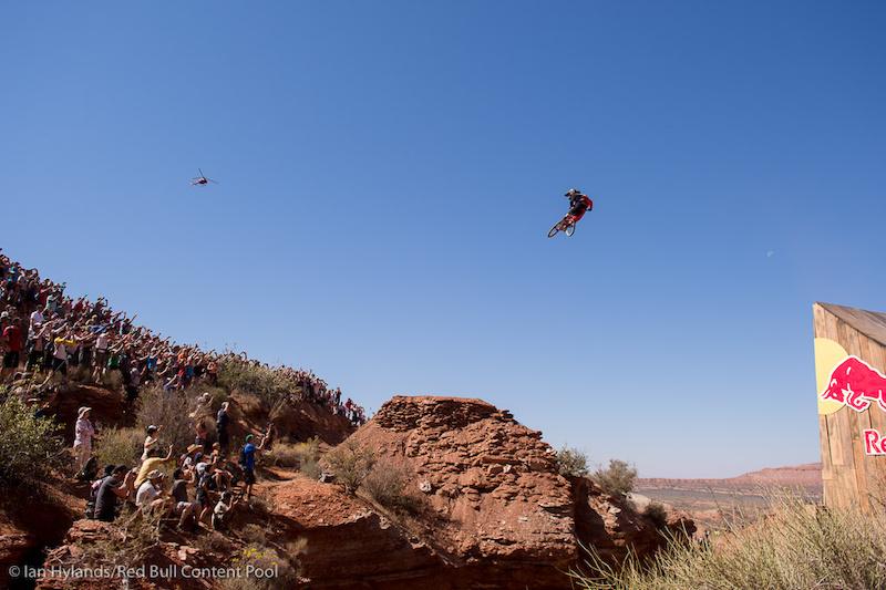 Cam McCaul rides in finals at Red Bull Rampage in Virgin Utah on 7 October 2012