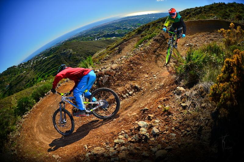 Sam Pilgrim and NS Bikes full suspension Product Developer – Maciek Kucbora in Malaga.  Photo by Kuba Konwent (http://konwent.fotolog.pl)