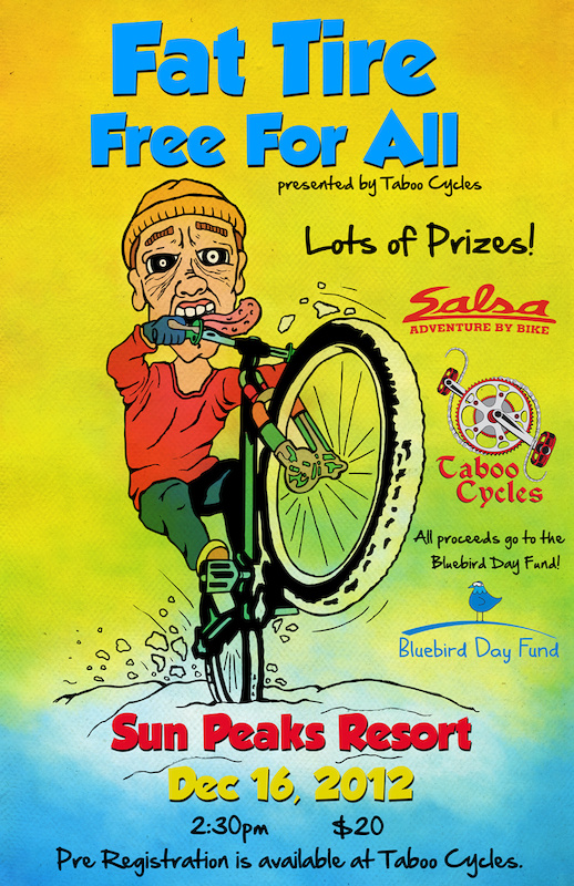 Fat Tire Free For All event poster - don t miss this inaugural fat bike race at Sun Peaks Resort