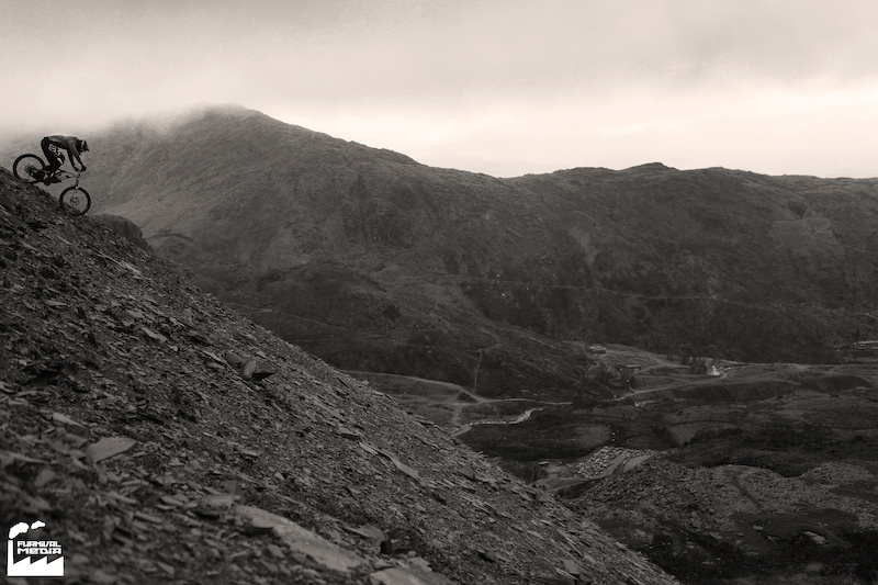 Riding the scree slope at Coniston Old Man in the Lake District