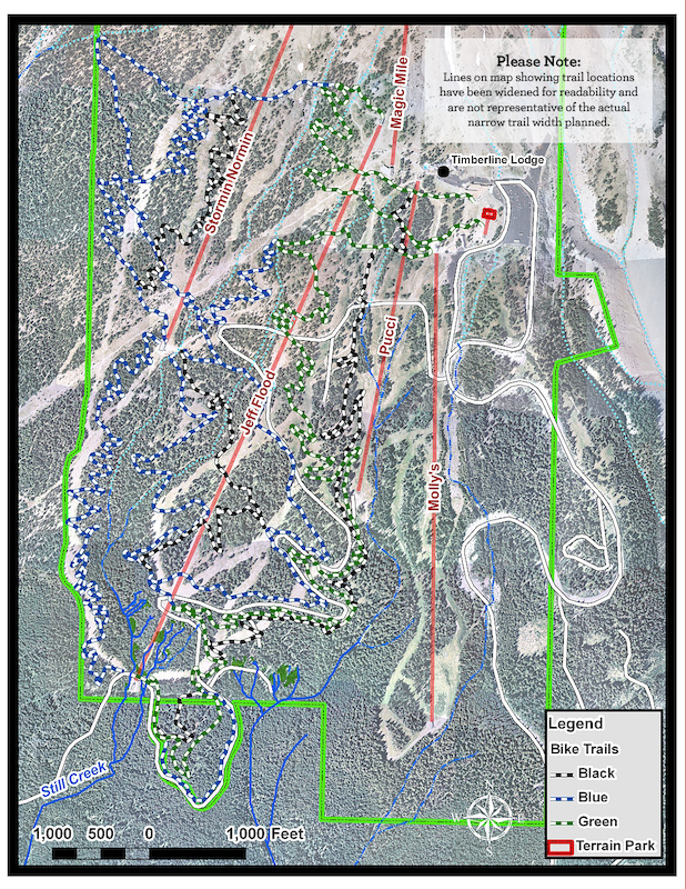 This is the draft trail plan for the upcoming Timberline Bike Park.