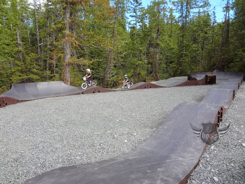 Counting laps on the pump track.