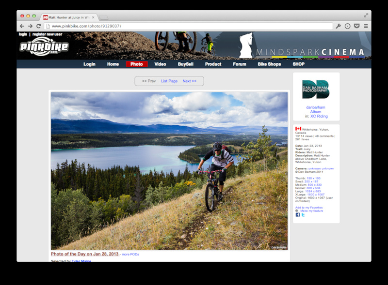 Old Pinkbike photo pages before the update