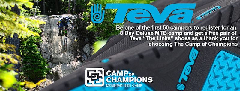 Be one of the first 50 campers to register for an 8 Day Deluxe MTB camp and get a free pair of Teva The Links shoes as a thank you for choosing The Camp of Champions.