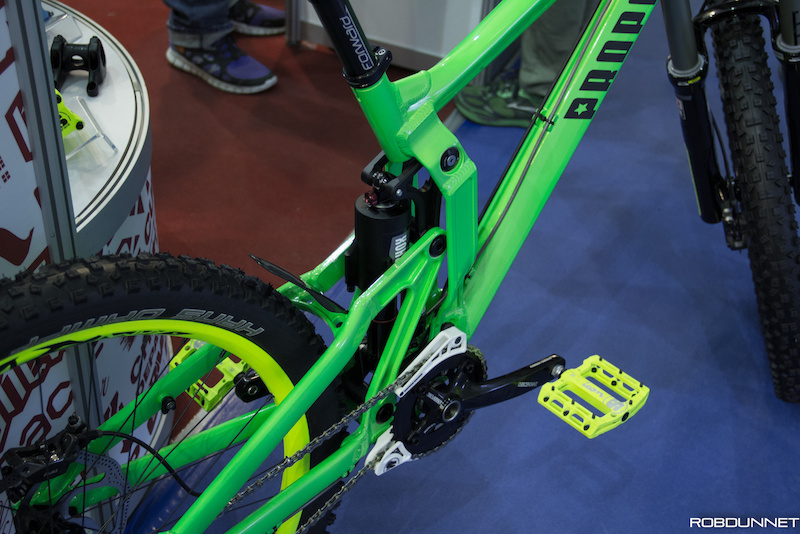 Propain with one of the brightest bikes a the show.
