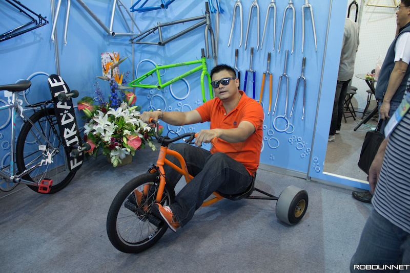 Drift Trikes are becoming popular in Taiwan. Nick Huang displays proper drift attire matching shirt shoes grips and trike frame are mandatory.