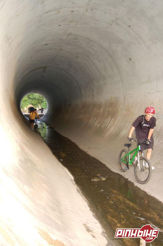 The 100ft long perfect full pipe under a dual carriage way.