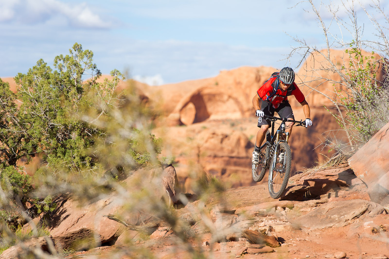 Tyson Swasey rides the Captain Ahab trail in Moab Utah