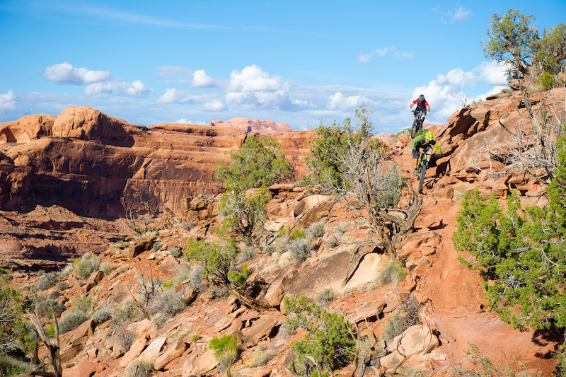 Kyle Mears and Tyson Swasey ride the Captain Ahab trail in Moab Utah