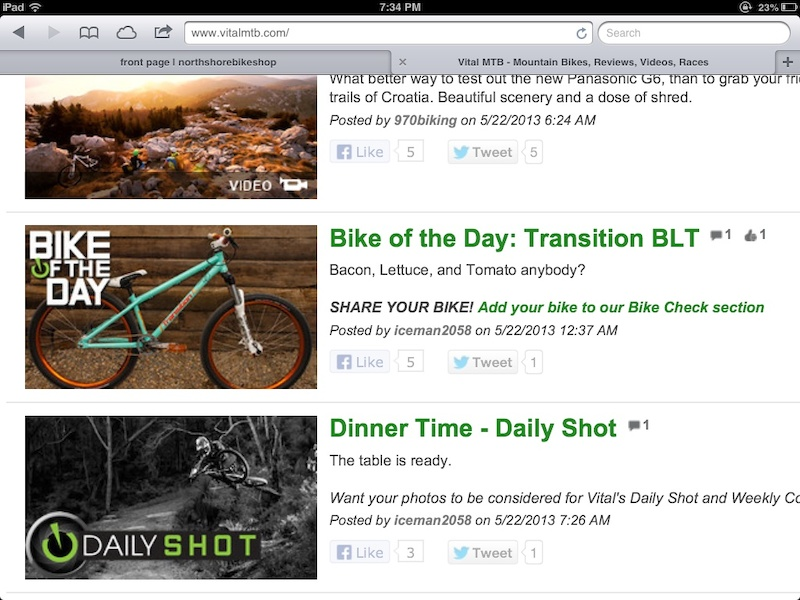 My Transition BLT is selected as Bike of the Day on VitalMTB on May 22. Bike was custom built by North Shore Bike Shop.