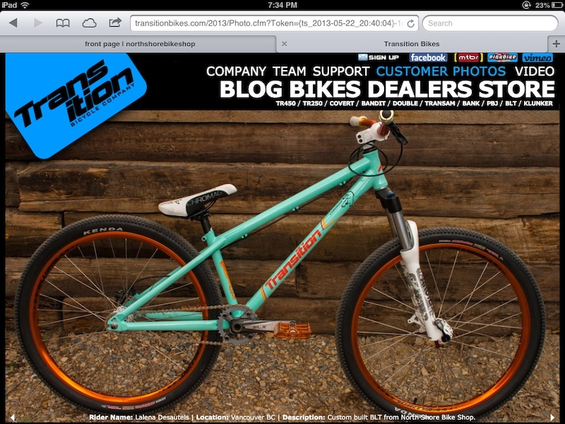 My Transition BLT is featured on Transition Bikes customer photo section. Bike was custom built by North Shore Bike Shop.