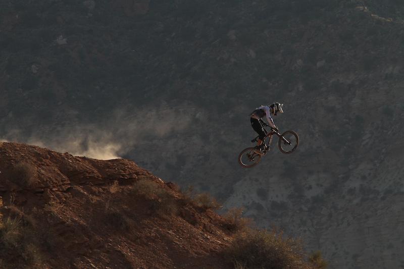 Brett Rheeder sending ridge one during Rampage 2012