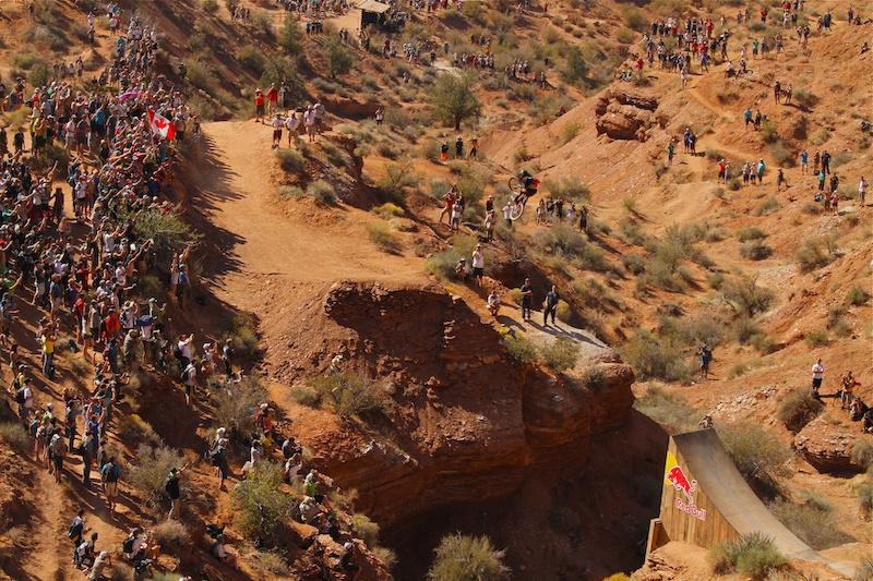 Cam McCaul hits the huge canyon gap at Rampage 2012