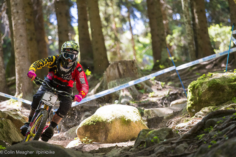 Sam Hill practicing on the DH track at Val di Sole Commezzadura IT