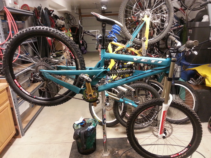 f*ck yea dh bike. Old school yeti at 39.7lbs with a spare parts build Full guide and dh tires are in the process right now.