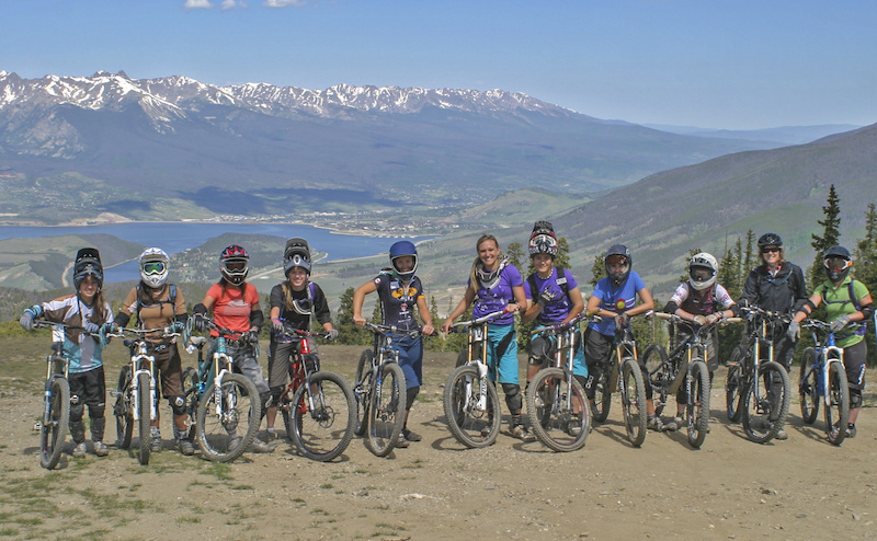 Our group from the Beti AllRide Clinic getting ready to descend from the top of Keystone. Lake Dillon is in the background.