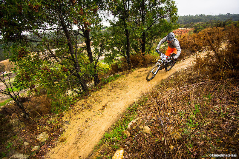 Lucas Tearing down stage 1 of GESA s Round 2 at Eagle MTB park