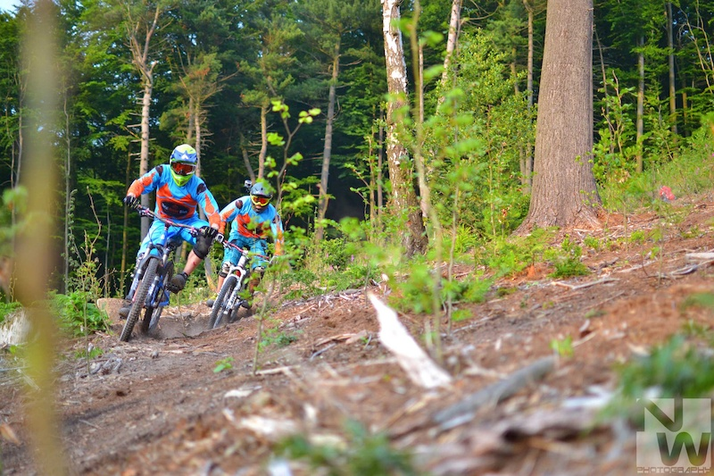 Team Metal Motion Bikes Chris and Nils smashing a berm on a sweet enduro ride. NWPhotography 2013