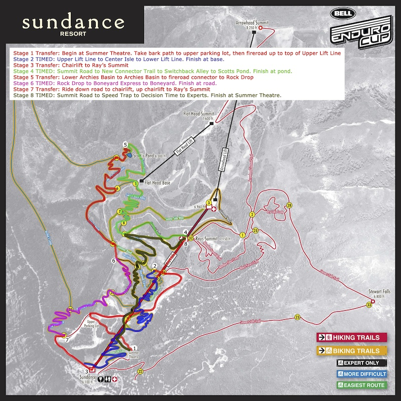 Trail map for the Bell Enduro Cup at Sundance Resort.