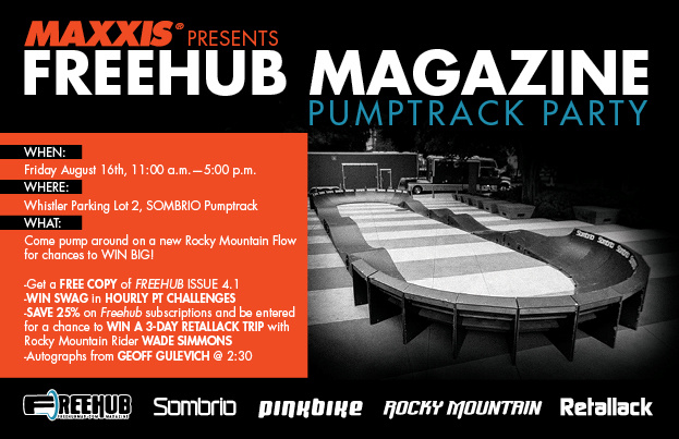 Freehub Pumptrack Party August 16th at the Sombrio Pumptrack