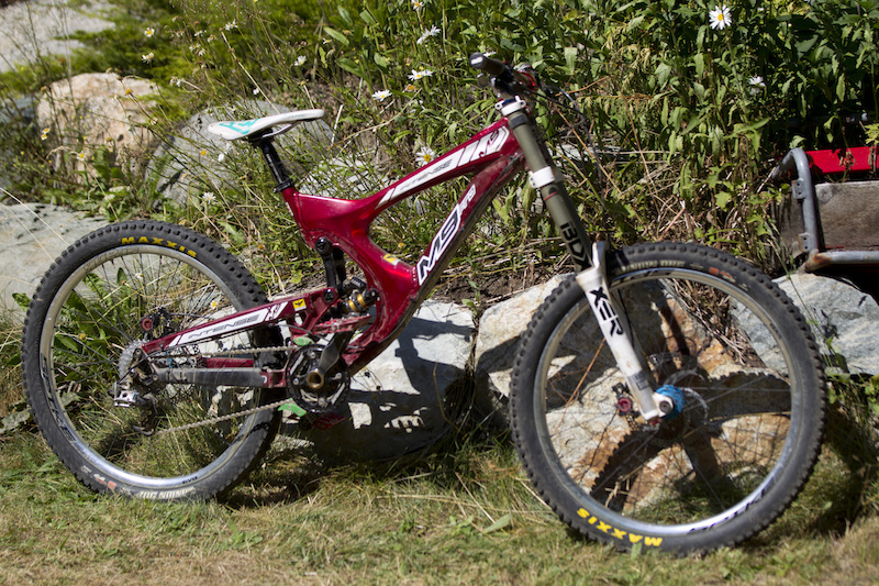 Intense M9 FRO Spank Spike Rims Hadley Hubs Straitline Pedals Stem Silent Guide Chain ring Kore Torsion Bars Race Face Cranks Boxxer R2C2 Forks SRAM X-9 Drive Train Formula The One Brakes Chromag Seat Race Face Post Maxxis Tires Free Whistler Bike Park Dust. 2000 plus 5 Tax