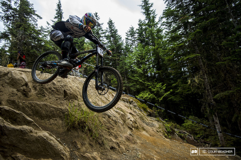 Loic Bruni on the rock drop on A-Line.