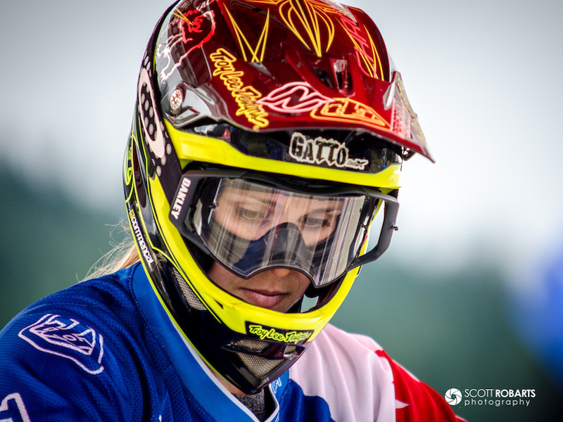 Micayla Gatto contemplative before the start of her race. Canadian Open Downhill - Crankworx 2013