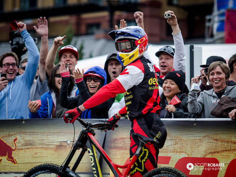 Steve Smith looks at the clock after finishing his race.  Canadian Open Downhill - Crankworx 2013