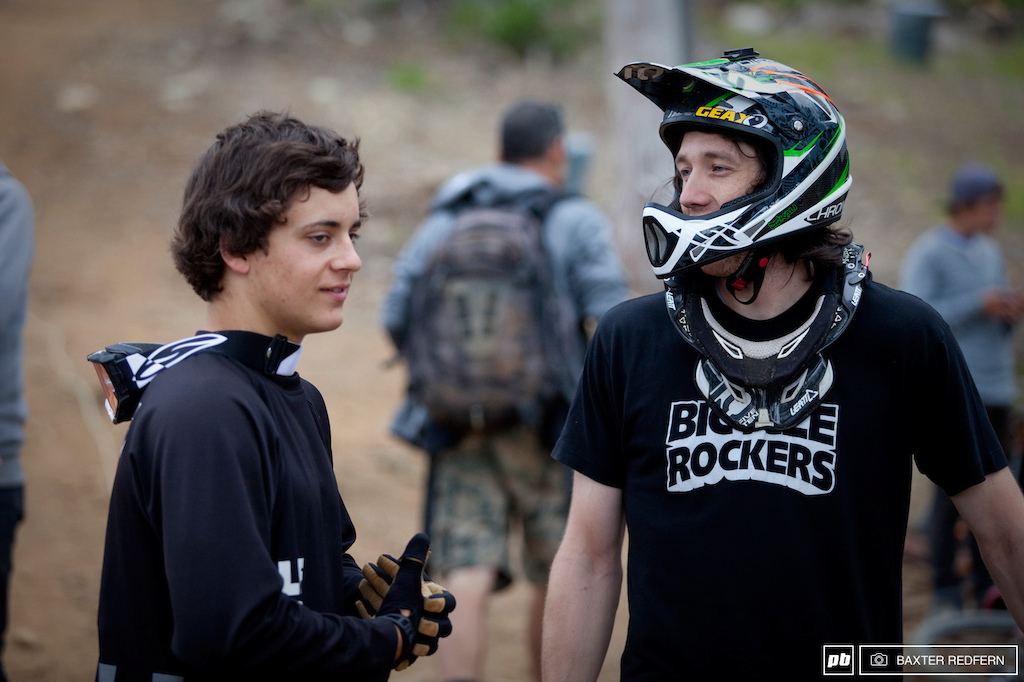 Two of the Ams choppin it up between runs. Carson Storch and Eric Lawrenuk. Ams...