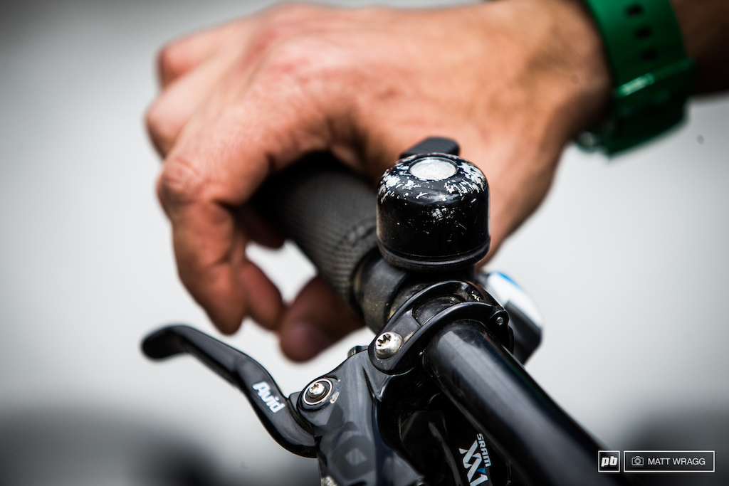 Ever the considerate gentleman Adam Craig has this bell on his handlebars to remind you to get of his way please.